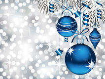 Blue Ornaments on Silver Bokeh Royalty Free Stock Photos