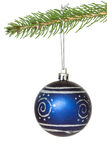 Blue ornate bauble over white background Stock Photo