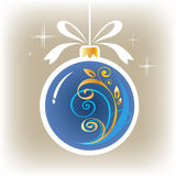 Blue ornate christmas ball Royalty Free Stock Photography