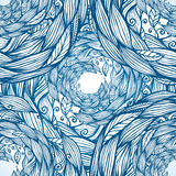 Blue ornate doodle foliage circle seamless pattern Royalty Free Stock Images