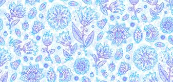 Blue ornate doodle style lineart flowers vector seamless romantic pattern tile royalty free illustration