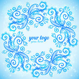 Blue ornate doodle vector frame Stock Photography