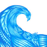 Blue ornate doodle wave, vector background Stock Photos
