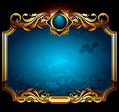Blue ornate frame Stock Images