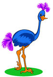 Blue ostrich. Cartoon blue ostrich. Isolated on white. Vector illustration Stock Images