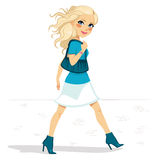 Blue Outfit Woman Walking Street Royalty Free Stock Photo