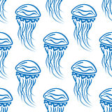 Blue outline jellyfishes seamless pattern Royalty Free Stock Photo