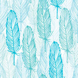 Blue outline seamless pattern Royalty Free Stock Photos