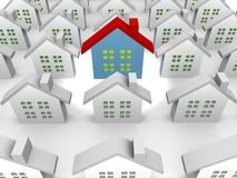 Blue outstanding houses. 3d illustration Royalty Free Stock Photo
