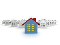 Blue outstanding houses isolated. 3d illustration Royalty Free Stock Image