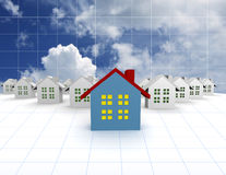 Blue outstanding houses with sky. Blue outstanding 3d houses with sky and cloud background Stock Images