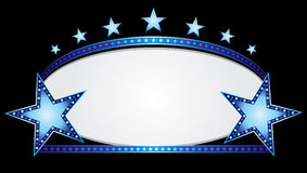 Blue oval. Shiny neon stars over blue oval banner Stock Images