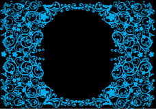 Blue oval floral frame Stock Photo