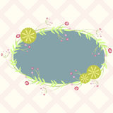 Blue oval frame with floral elements, template for invitation Stock Images
