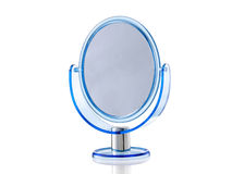 Blue oval stand mirror. Isolated on white background Stock Photography