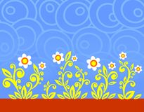 Blue ovals and flowers Stock Photos