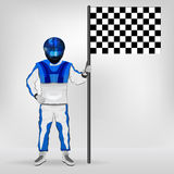 Blue overall standing racer holding checked flag vector Royalty Free Stock Images