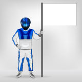 Blue overall standing racer holding empty flag vector Stock Photos