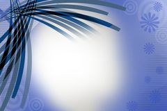 Blue overlaped lines left top corner, abstract background Stock Images