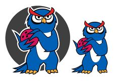 Blue owl character with bowling ball Royalty Free Stock Photography