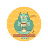 Blue owl with coffee sitting on a branch Royalty Free Stock Images