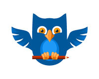 Blue Owl. Creative owl with a pen Stock Photography
