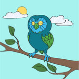 Blue owl in the daytime Stock Images