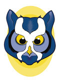 Blue Owl Face Illustration Stock Photos