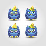Blue owl happy holiday emotion Royalty Free Stock Photo