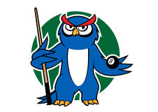 Blue owl with pool cue and ball. Cartoon blue owl player with billiard  ball and cue, for sporting mascot design Royalty Free Stock Photos
