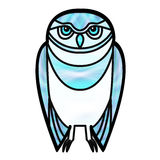 Blue Owl in Stained Glass Style Royalty Free Stock Photos