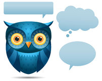Blue Owl and talk bubble. Illustration of Blue Owl and talk bubble Royalty Free Stock Images