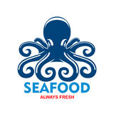 Blue pacific octopus icon for seafood menu design Royalty Free Stock Image