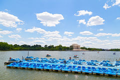 Blue paddle boats and Jefferson Memorial Stock Photography