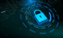 Blue padlock and HUD circle elements on microchip background stock illustration