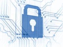 Blue padlock on white background Stock Images