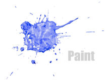 Blue paint blot. Single blue blot of paint with splashes, isolated on white royalty free stock images