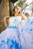 Blue Paint Bride Royalty Free Stock Photo