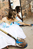 Blue Paint Bride Royalty Free Stock Images