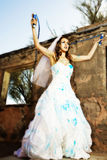 Blue Paint Bride Royalty Free Stock Photography