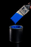 Blue Paint and Brush Royalty Free Stock Images
