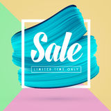 Blue paint brush background and sale in frame isolated on bright. Colors. Vector abstract promo banner for shop in social media Royalty Free Stock Image