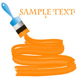 Blue paint brush with orange paint Royalty Free Stock Photos