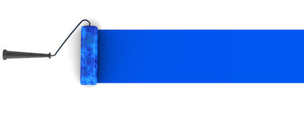 Blue paint brush. A roller paint brush in blue drawing from right to left for use as copyspace or your own text, or just merging with your design elements Royalty Free Stock Image