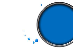Blue paint can Stock Image