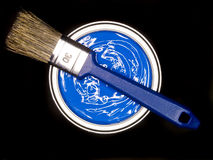 Blue Paint can ans brush Royalty Free Stock Photography