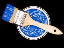 Blue Paint can and brush Royalty Free Stock Photos