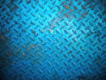 Blue paint color floor steel plate Royalty Free Stock Photography