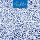 Blue paint drops and splashes background. Background with various ink splatters, spots and blots Royalty Free Stock Image