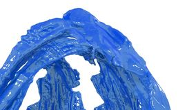 Blue paint flow of fountain fly up in air with many splashes. Shot of blue liquid as car paint or color in slow motion